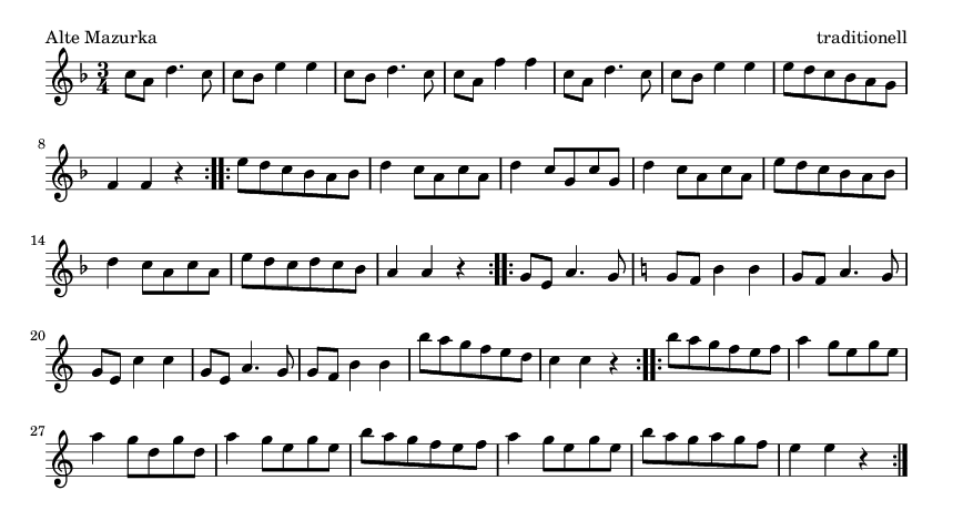Alte Mazurka - please update page (F5 key), if notes are not visible
