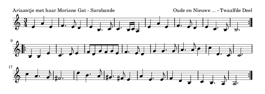 Ariaantje met haar Moriane Gat - Sarabande - please update page (F5 key), if notes are not visible