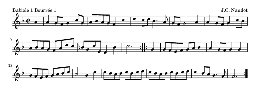 Babiole 1 Bourrée 1 - please update page (F5 key), if notes are not visible