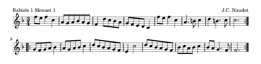 Babiole 1 Menuet 1 - please update page (F5 key), if notes are not visible
