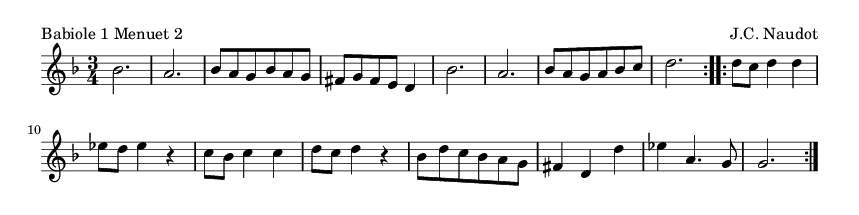 Babiole 1 Menuet 2 - please update page (F5 key), if notes are not visible