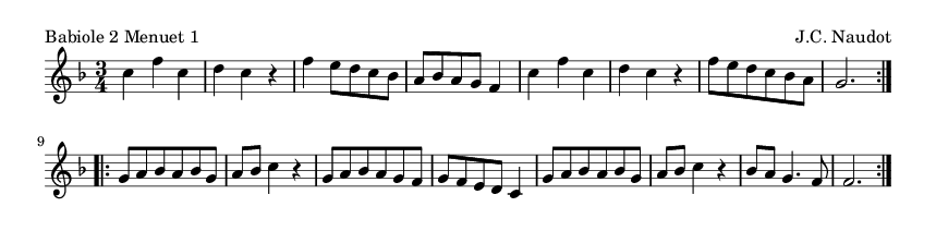 Babiole 2 Menuet 1 - please update page (F5 key), if notes are not visible