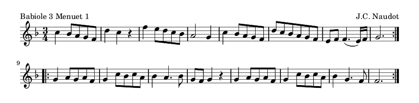 Babiole 3 Menuet 1 - please update page (F5 key), if notes are not visible