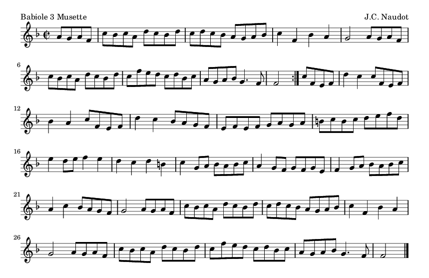 Babiole 3 Musette - please update page (F5 key), if notes are not visible