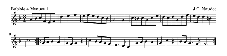 Babiole 4 Menuet 1 - please update page (F5 key), if notes are not visible