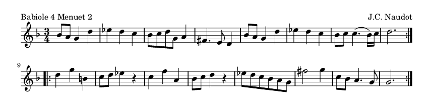 Babiole 4 Menuet 2 - please update page (F5 key), if notes are not visible