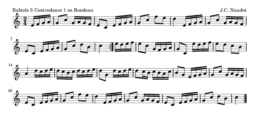 Babiole 5 Contredance 1 en Rondeau - please update page (F5 key), if notes are not visible
