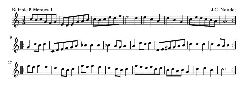 Babiole 5 Menuet 1 - please update page (F5 key), if notes are not visible