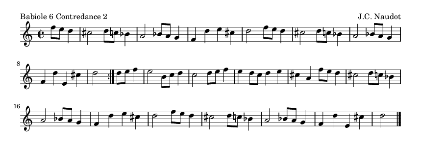 Babiole 6 Contredance 2 - please update page (F5 key), if notes are not visible