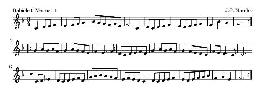 Babiole 6 Menuet 1 - please update page (F5 key), if notes are not visible
