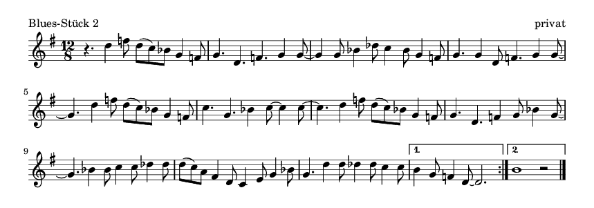 Blues-Stück 2 - please update page (F5 key), if notes are not visible