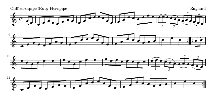 Cliff Hornpipe (Ruby Hornpipe) - please update page (F5 key), if notes are not visible