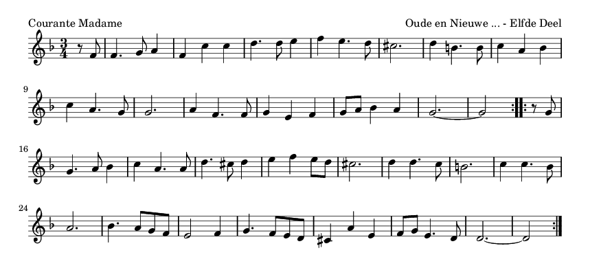 Courante Madame - please update page (F5 key), if notes are not visible