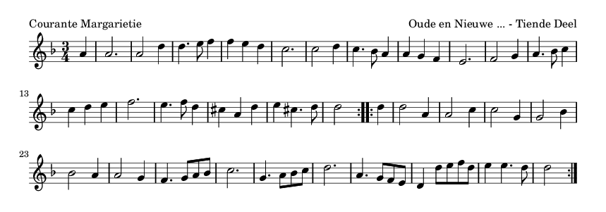 Courante Margarietie - please update page (F5 key), if notes are not visible