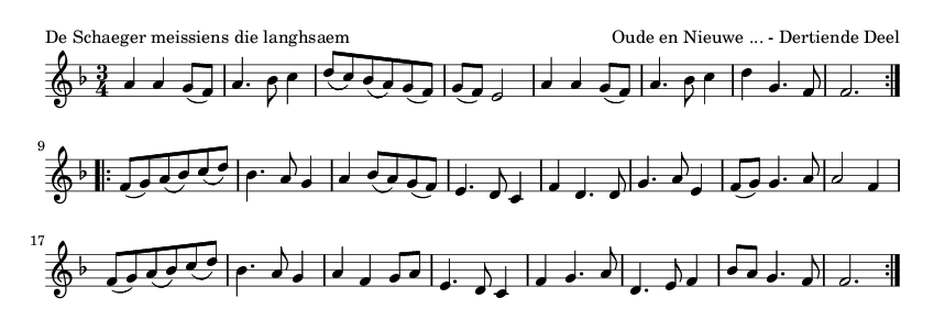 De Schaeger meissiens die langhsaem - please update page (F5 key), if notes are not visible