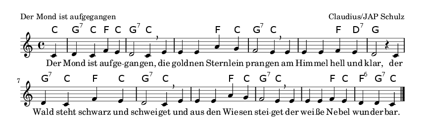 Der Mond ist aufgegangen - please update page (F5 key), if notes are not visible
