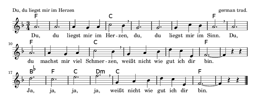 Du, du liegst mir im Herzen - please update page (F5 key), if notes are not visible