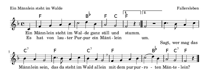 Ein Männlein steht im Walde - please update page (F5 key), if notes are not visible