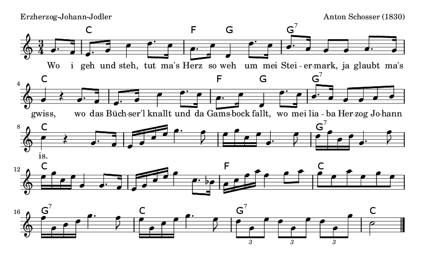 Erzherzog-Johann-Jodler - please update page (F5 key), if notes are not visible