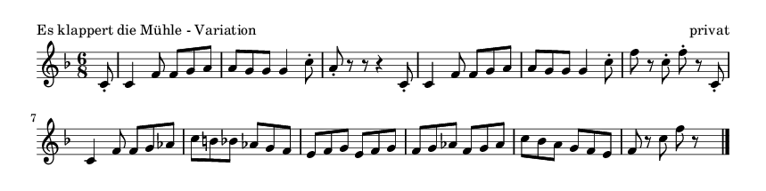 Es klappert die Mühle - Variation - please update page (F5 key), if notes are not visible