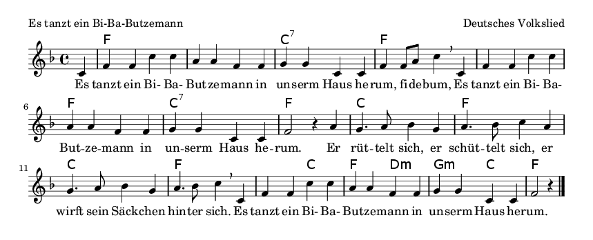 Es tanzt ein Bi-Ba-Butzemann - please update page (F5 key), if notes are not visible