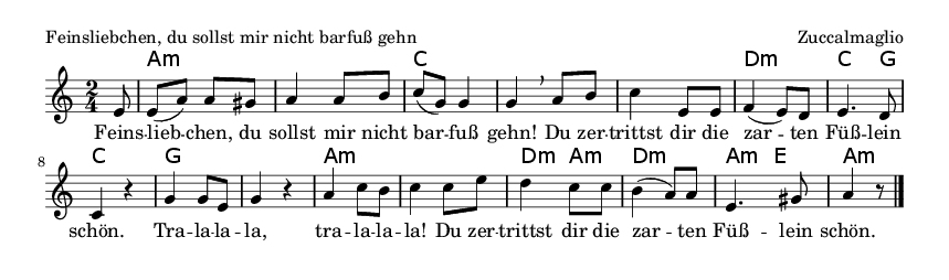 Feinsliebchen, du sollst mir nicht barfuß gehn - please update page (F5 key), if notes are not visible