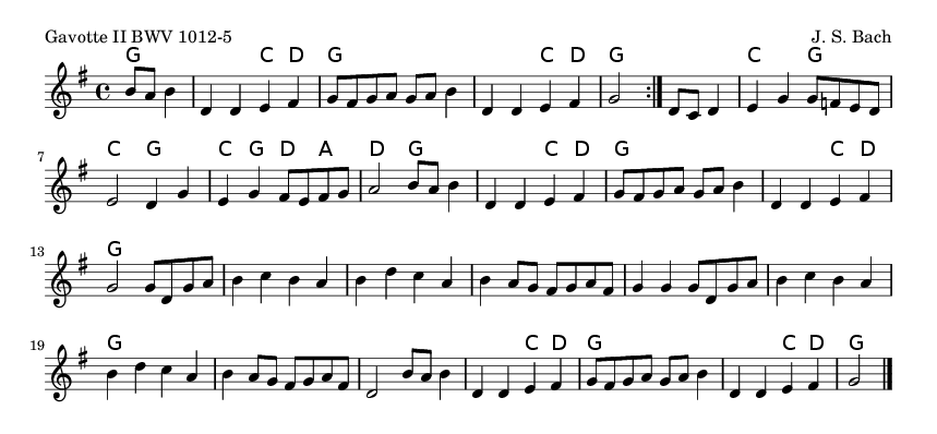 Gavotte II BWV 1012-5 - please update page (F5 key), if notes are not visible