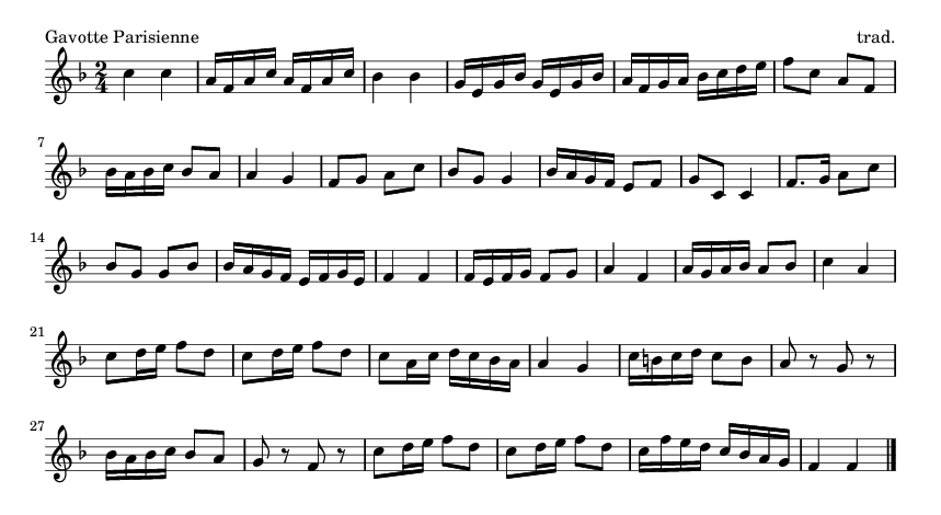 Gavotte Parisienne - please update page (F5 key), if notes are not visible