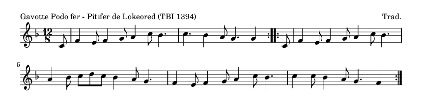 Gavotte Podo fer - Pitifer de Lokeored (TBI 1394) - please update page (F5 key), if notes are not visible