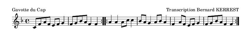 Gavotte du Cap - please update page (F5 key), if notes are not visible