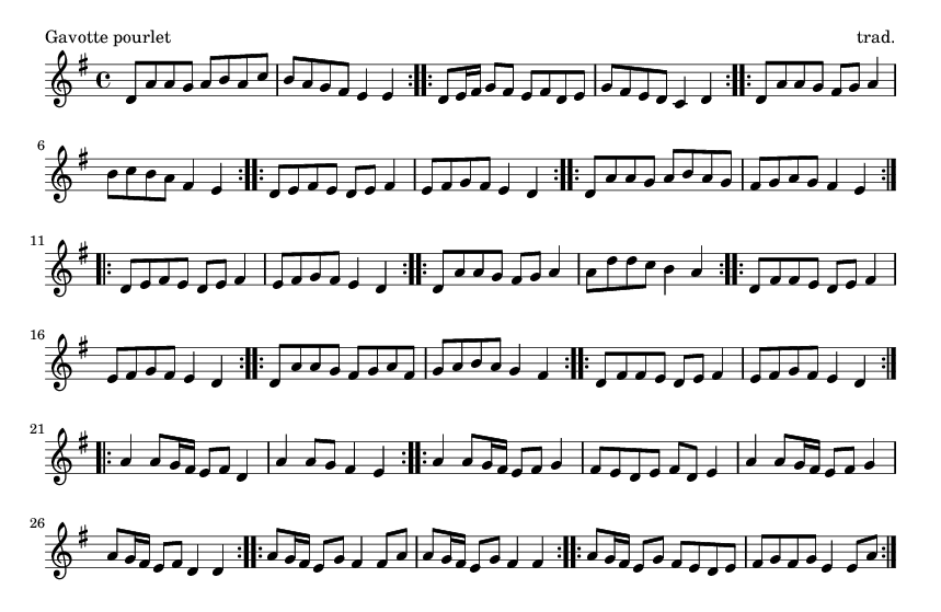 Gavotte pourlet - please update page (F5 key), if notes are not visible