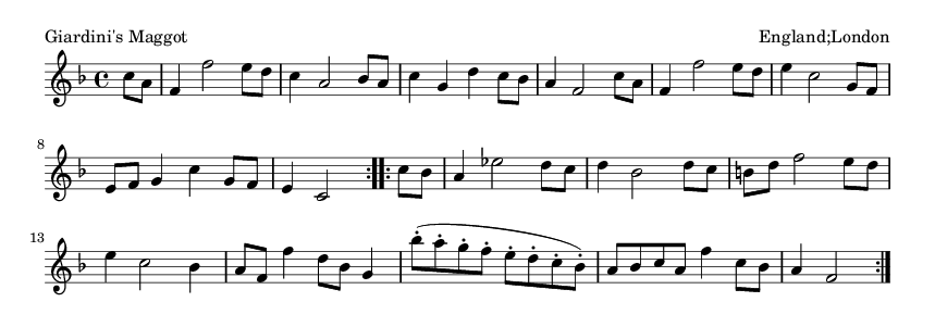 Giardini's Maggot - please update page (F5 key), if notes are not visible