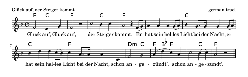 Glück auf, der Steiger kommt - please update page (F5 key), if notes are not visible