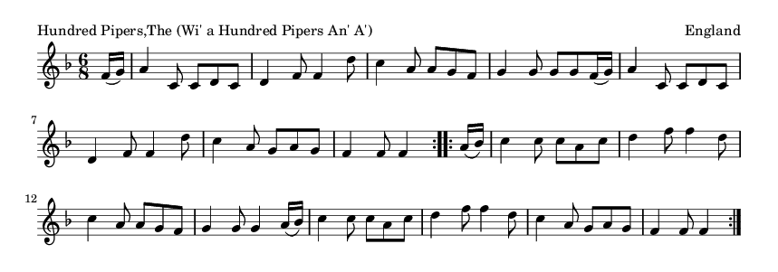 Hundred Pipers,The (Wi' a Hundred Pipers An' A') - please update page (F5 key), if notes are not visible