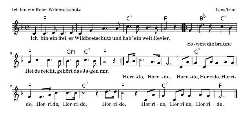 Ich bin ein freier Wildbretschütz - please update page (F5 key), if notes are not visible