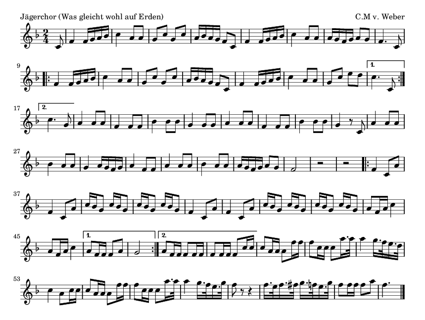 Jägerchor (Was gleicht wohl auf Erden) - please update page (F5 key), if notes are not visible
