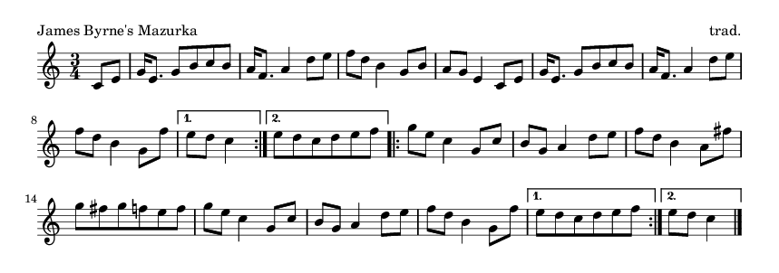 James Byrne's Mazurka - please update page (F5 key), if notes are not visible