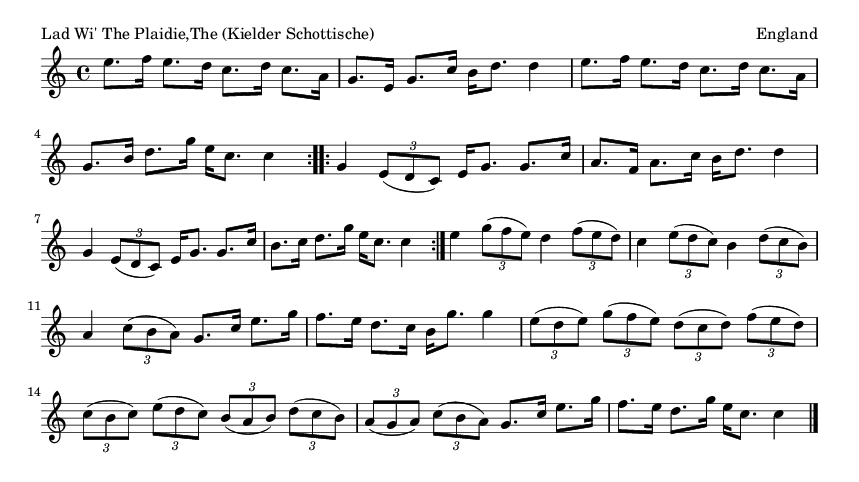 Lad Wi' The Plaidie,The (Kielder Schottische) - please update page (F5 key), if notes are not visible