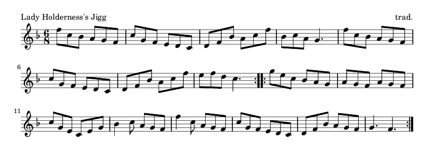 Lady Holderness's Jigg - please update page (F5 key), if notes are not visible