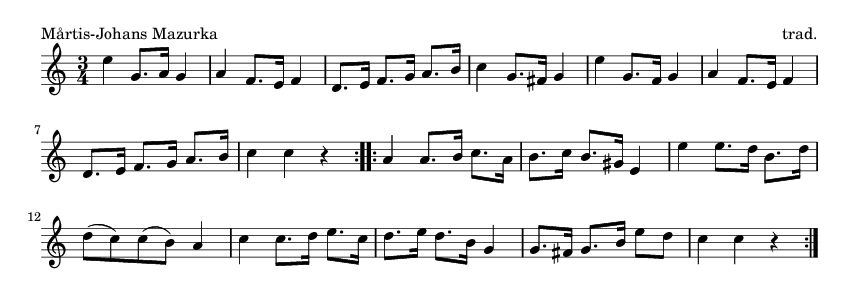 Mårtis-Johans Mazurka - please update page (F5 key), if notes are not visible