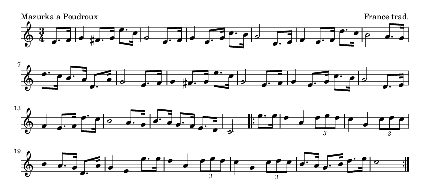 Mazurka a Poudroux - please update page (F5 key), if notes are not visible