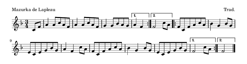 Mazurka de Lapleau - please update page (F5 key), if notes are not visible