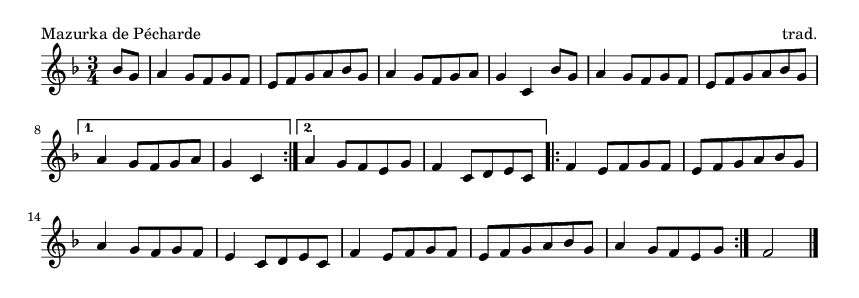 Mazurka de Pécharde - please update page (F5 key), if notes are not visible