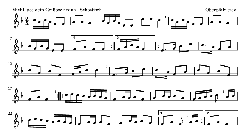 Michl lass dein Geißbock raus - Schottisch - please update page (F5 key), if notes are not visible