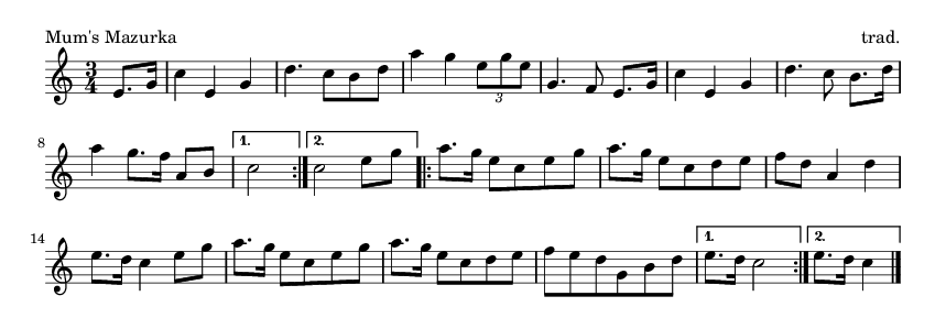 Mum's Mazurka - please update page (F5 key), if notes are not visible