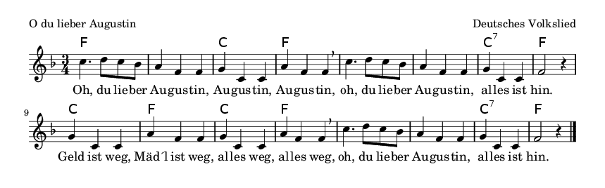 O du lieber Augustin - please update page (F5 key), if notes are not visible