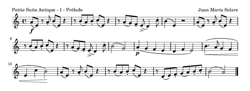 Petite Suite Antique - 1 - Prélude - please update page (F5 key), if notes are not visible