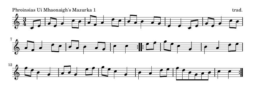 Phroinsias Ui Mhaonaigh's Mazurka 1 - please update page (F5 key), if notes are not visible