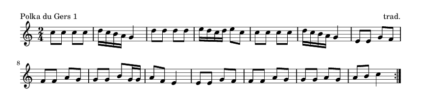 Polka du Gers 1 - please update page (F5 key), if notes are not visible