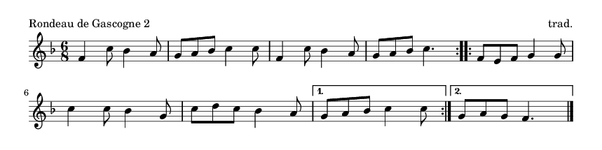 Rondeau de Gascogne 2 - please update page (F5 key), if notes are not visible
